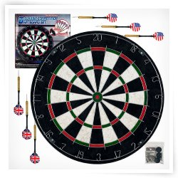 TGT Pro Style Bristle Dart Board Set with 6 Darts & Board